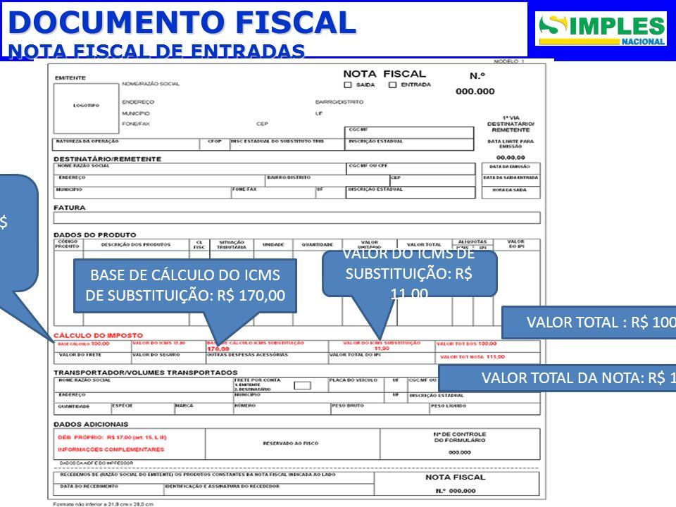 DOCUMENTO FISCAL NOTA FISCAL DE ENTRADAS VALOR TOTAL : R$ 100,00 VALOR TOTAL DA NOTA: R$ 111,00 VALOR DO ICMS DE SUBSTITUIÇÃO: R$ 11,00 BASE DE CÁLCUL