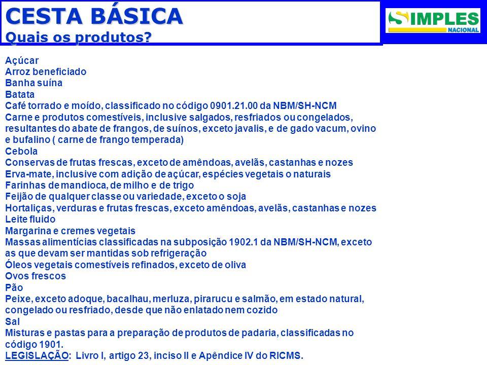 CESTA BÁSICA Quais os produtos? Açúcar Arroz beneficiado Banha suína Batata Café torrado e moído, classificado no código 0901.21.00 da NBM/SH-NCM Carn