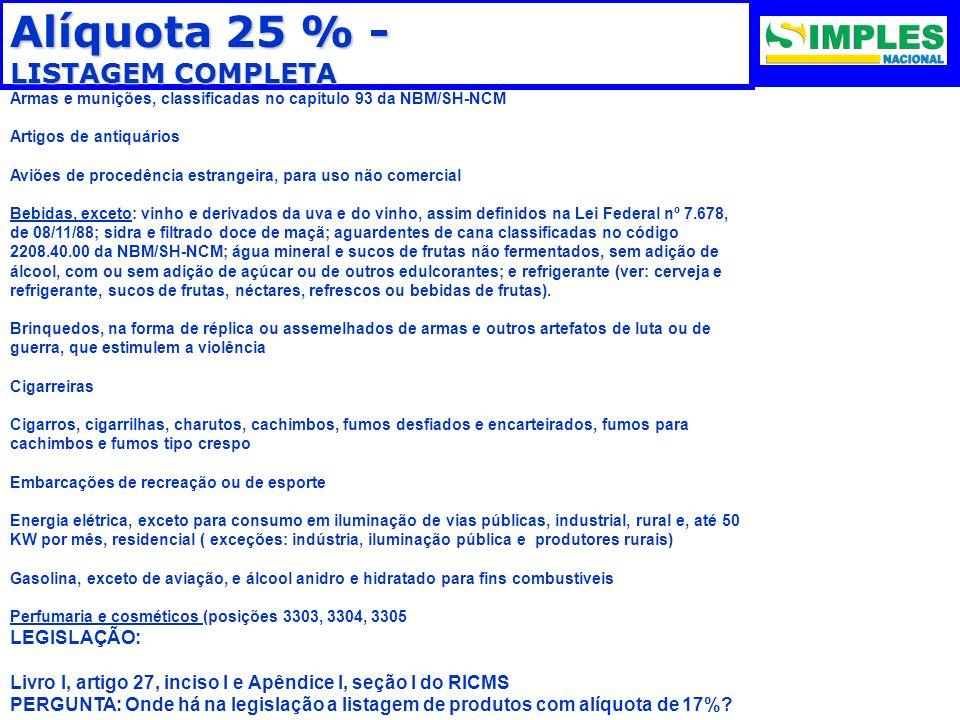 Alíquota 25 % - LISTAGEM COMPLETA Armas e munições, classificadas no capítulo 93 da NBM/SH-NCM Artigos de antiquários Aviões de procedência estrangeir