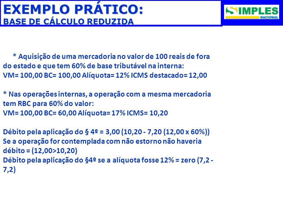 EXEMPLO PRÁTICO: BASE DE CÁLCULO REDUZIDA * Aquisição de uma mercadoria no valor de 100 reais de fora do estado e que tem 60% de base tributável na in