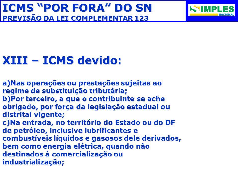 ICMS POR FORA DO SN PREVISÃO DA LEI COMPLEMENTAR 123 XIII – ICMS devido: a)Nas operações ou prestações sujeitas ao regime de substituição tributária;