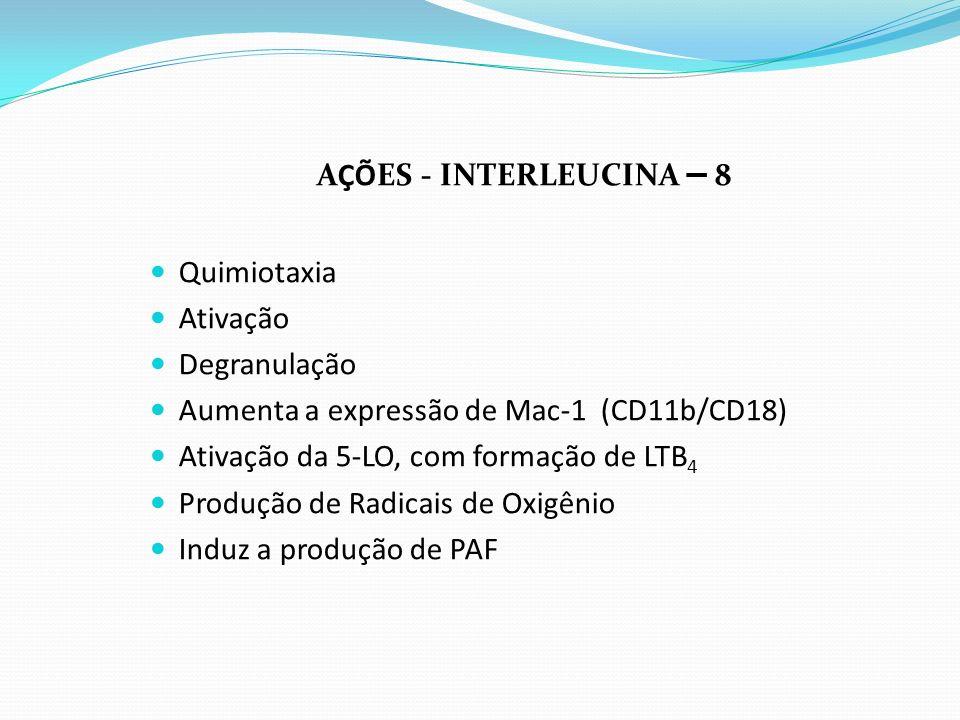 AÇÕES - INTERLEUCINA – 8 Quimiotaxia Ativação Degranulação Aumenta a expressão de Mac-1 (CD11b/CD18) Ativação da 5-LO, com formação de LTB 4 Produção