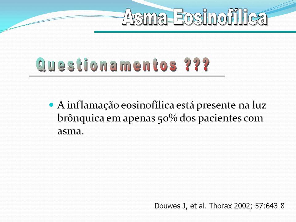 A inflamação eosinofílica está presente na luz brônquica em apenas 50% dos pacientes com asma. Douwes J, et al. Thorax 2002; 57:643-8