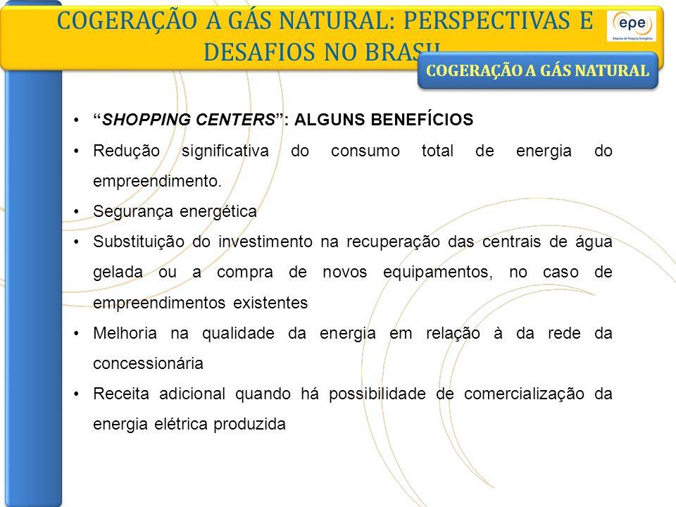 COGERAÇÃO A GÁS NATURAL: PERSPECTIVAS E DESAFIOS NO BRASIL SHOPPING CENTERS: ALGUNS BENEFÍCIOS Redução significativa do consumo total de energia do em