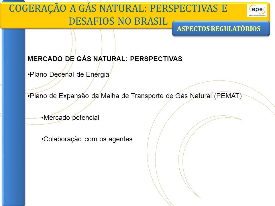 ASPECTOS REGULATÓRIOS COGERAÇÃO A GÁS NATURAL: PERSPECTIVAS E DESAFIOS NO BRASIL MERCADO DE GÁS NATURAL: PERSPECTIVAS Plano Decenal de Energia Plano d