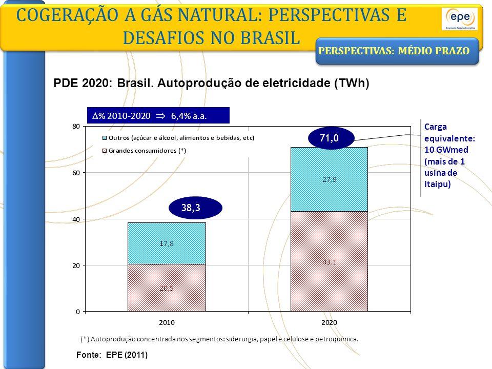 COGERAÇÃO A GÁS NATURAL: PERSPECTIVAS E DESAFIOS NO BRASIL Fonte: EPE (2011) PDE 2020: Brasil. Autoprodução de eletricidade (TWh) 38,3 71,0 % 2010-202