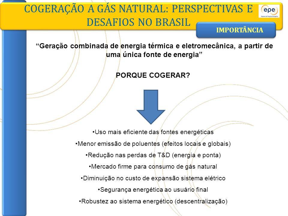 COGERAÇÃO A GÁS NATURAL: PERSPECTIVAS E DESAFIOS NO BRASIL GLOBAL = 80% Calor Eletricidade COGERAÇÃO Perdas GERAÇÃO EM SISTEMAS DISTINTOS Perdas GLOBAL = 56% Perdas Caldeira Termelétrica a gás natural IMPORTÂNCIA EFICIÊNCIA ENERGÉTICA Total: 325 u.g.