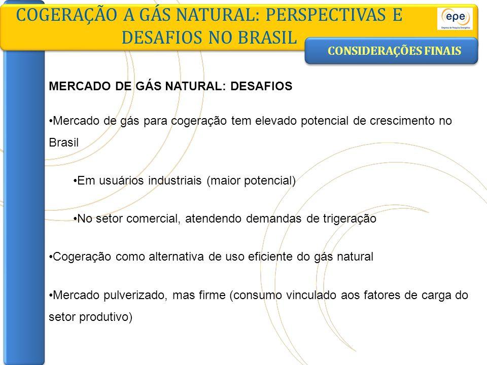 CONSIDERAÇÕES FINAIS COGERAÇÃO A GÁS NATURAL: PERSPECTIVAS E DESAFIOS NO BRASIL MERCADO DE GÁS NATURAL: DESAFIOS Mercado de gás para cogeração tem ele