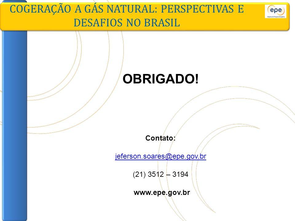 COGERAÇÃO A GÁS NATURAL: PERSPECTIVAS E DESAFIOS NO BRASIL OBRIGADO! Contato: jeferson.soares@epe.gov.br (21) 3512 – 3194 www.epe.gov.br