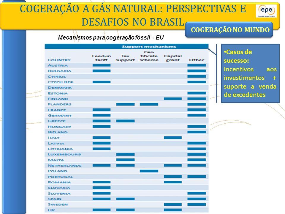 COGERAÇÃO A GÁS NATURAL: PERSPECTIVAS E DESAFIOS NO BRASIL COGERAÇÃO NO MUNDO Mecanismos para cogeração fóssil – EU Casos de sucesso: Incentivos aos i
