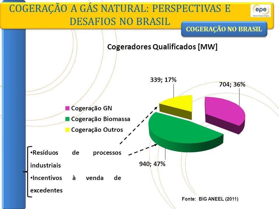 COGERAÇÃO NO BRASIL COGERAÇÃO A GÁS NATURAL: PERSPECTIVAS E DESAFIOS NO BRASIL Fonte: BIG ANEEL (2011) Resíduos de processos industriais Incentivos à