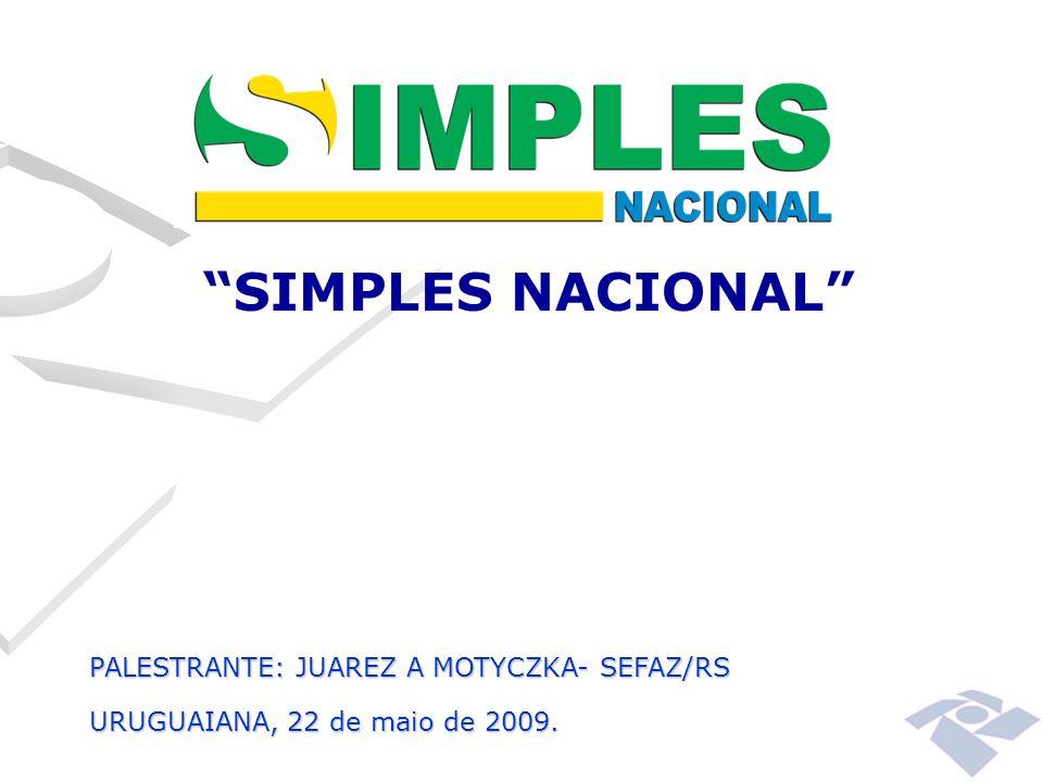 SIMPLES NACIONAL PALESTRANTE: JUAREZ A MOTYCZKA- SEFAZ/RS URUGUAIANA, 22 de maio de 2009.