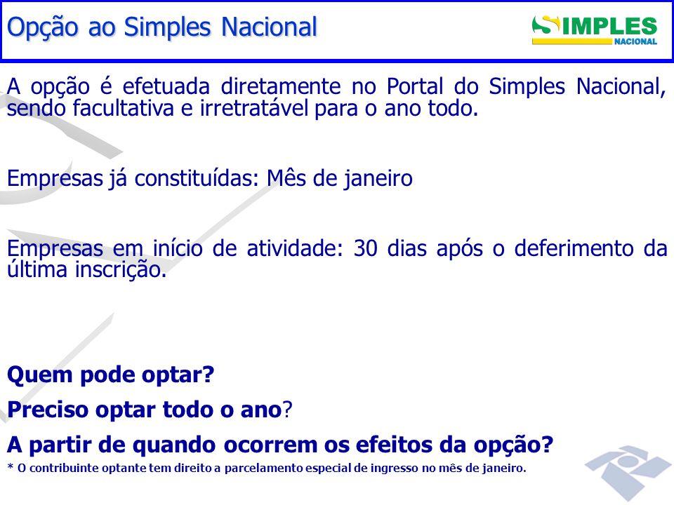 Gestão do Simples Nacional A opção é efetuada diretamente no Portal do Simples Nacional, sendo facultativa e irretratável para o ano todo. Empresas já
