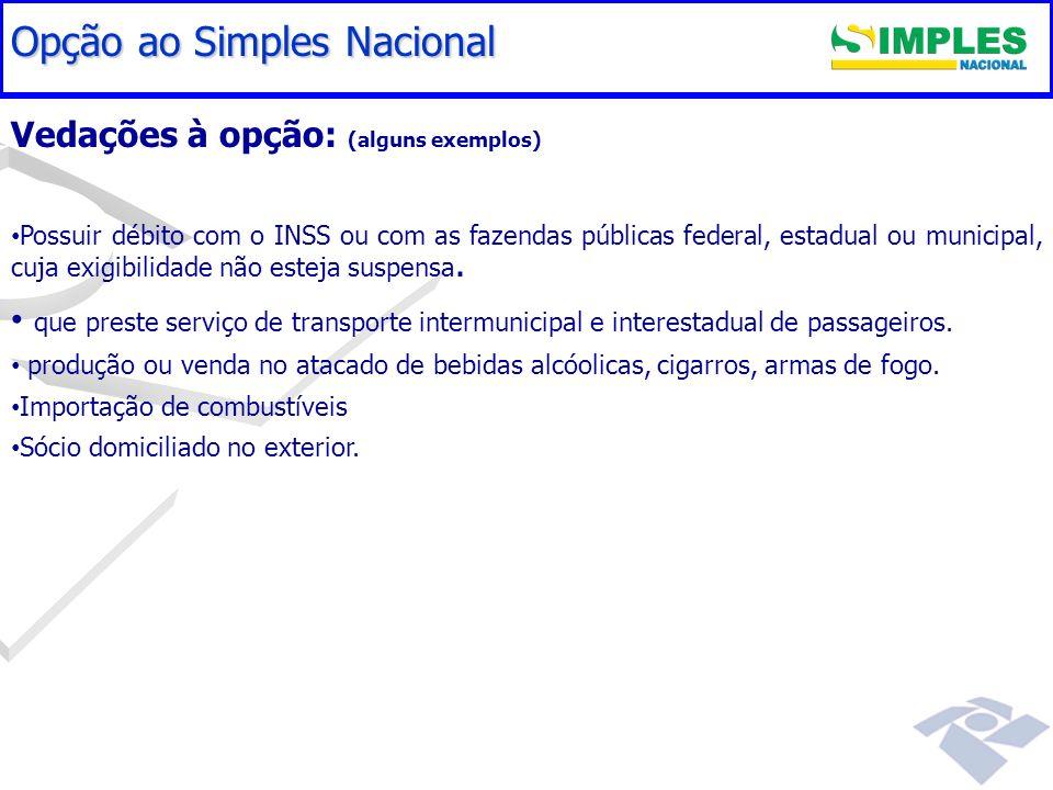 Gestão do Simples Nacional Vedações à opção: (alguns exemplos) Possuir débito com o INSS ou com as fazendas públicas federal, estadual ou municipal, c