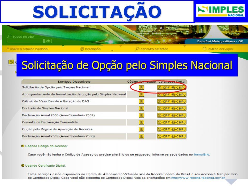 SOLICITAÇÃO Solicitação de Opção pelo Simples Nacional
