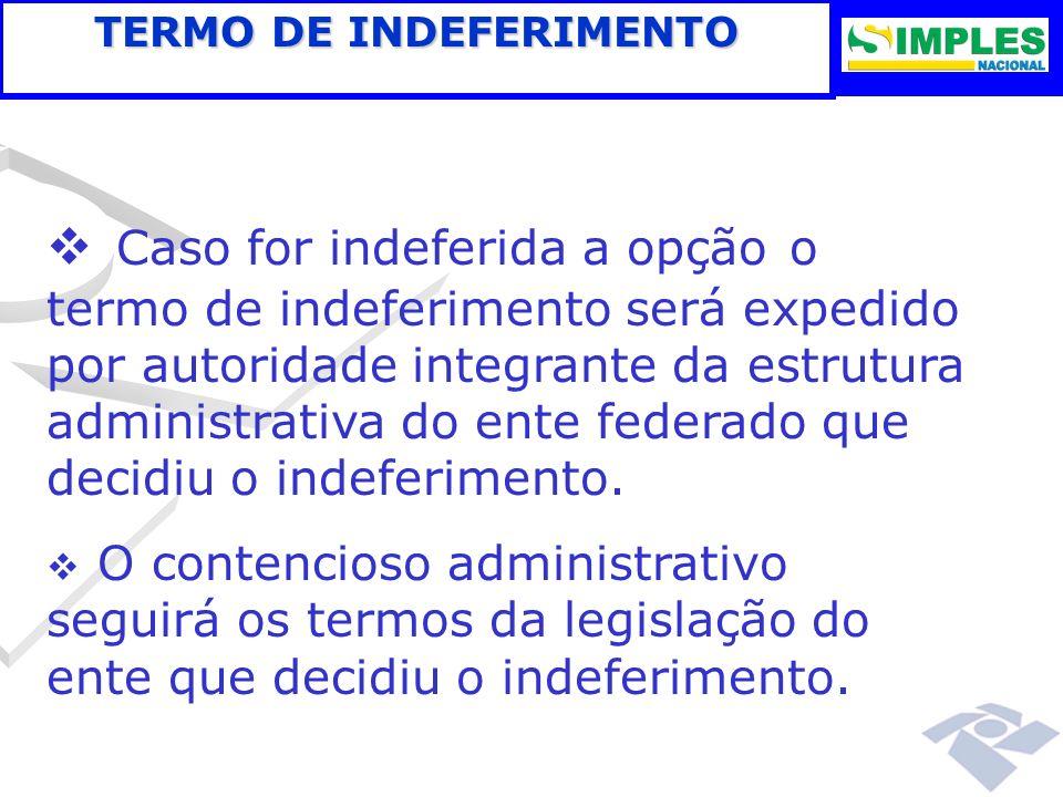 Caso for indeferida a opção o termo de indeferimento será expedido por autoridade integrante da estrutura administrativa do ente federado que decidiu