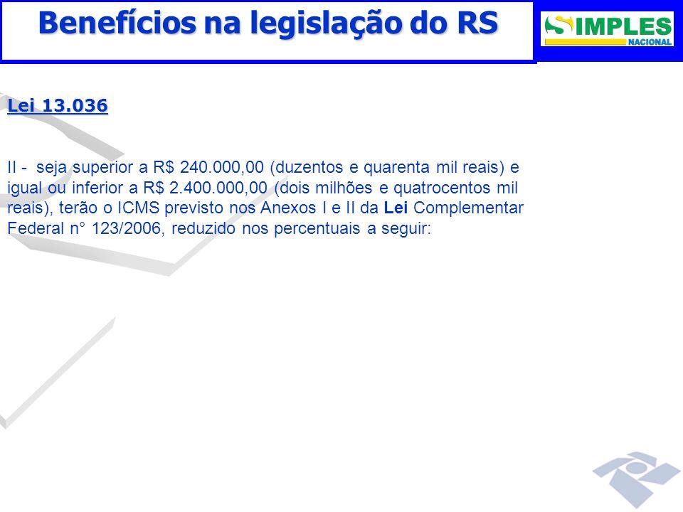 Benefícios na legislação do RS Lei 13.036 II - seja superior a R$ 240.000,00 (duzentos e quarenta mil reais) e igual ou inferior a R$ 2.400.000,00 (do