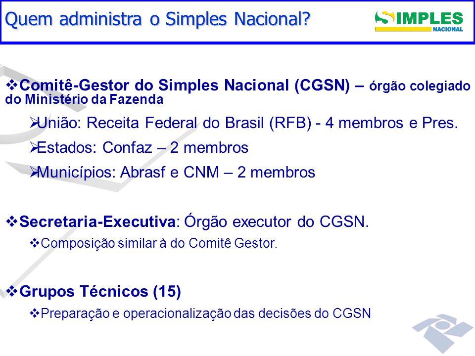 Gestão do Simples Nacional Comitê-Gestor do Simples Nacional (CGSN) – órgão colegiado do Ministério da Fazenda União: Receita Federal do Brasil (RFB)
