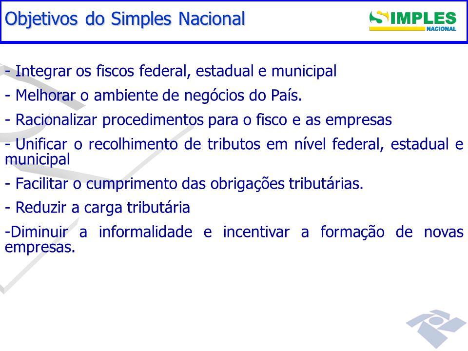 Gestão do Simples Nacional - - Integrar os fiscos federal, estadual e municipal - - Melhorar o ambiente de negócios do País. - - Racionalizar procedim