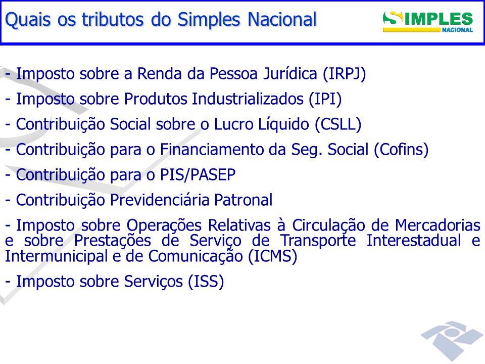 Gestão do Simples Nacional - - Imposto sobre a Renda da Pessoa Jurídica (IRPJ) - - Imposto sobre Produtos Industrializados (IPI) - - Contribuição Soci