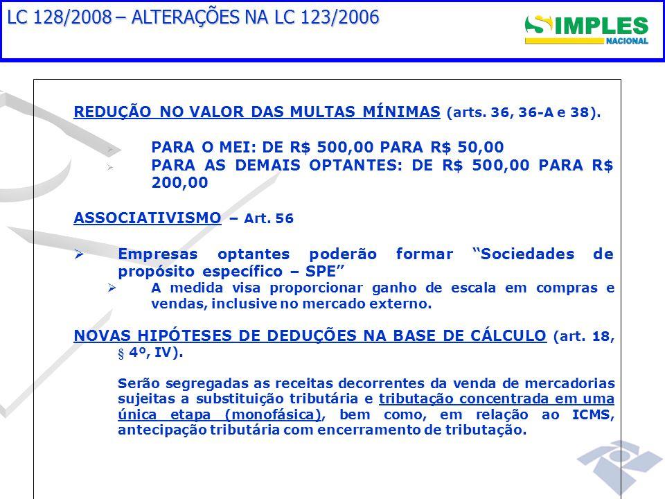 LC 128/2008 – ALTERAÇÕES NA LC 123/2006 REDUÇÃO NO VALOR DAS MULTAS MÍNIMAS (arts. 36, 36-A e 38). PARA O MEI: DE R$ 500,00 PARA R$ 50,00 PARA AS DEMA
