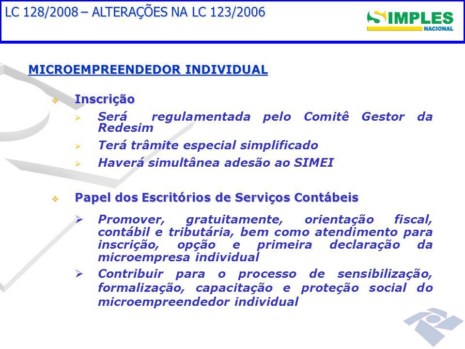 LC 128/2008 – ALTERAÇÕES NA LC 123/2006 MICROEMPREENDEDOR INDIVIDUAL Inscrição Inscrição Será regulamentada pelo Comitê Gestor da Redesim Terá trâmite
