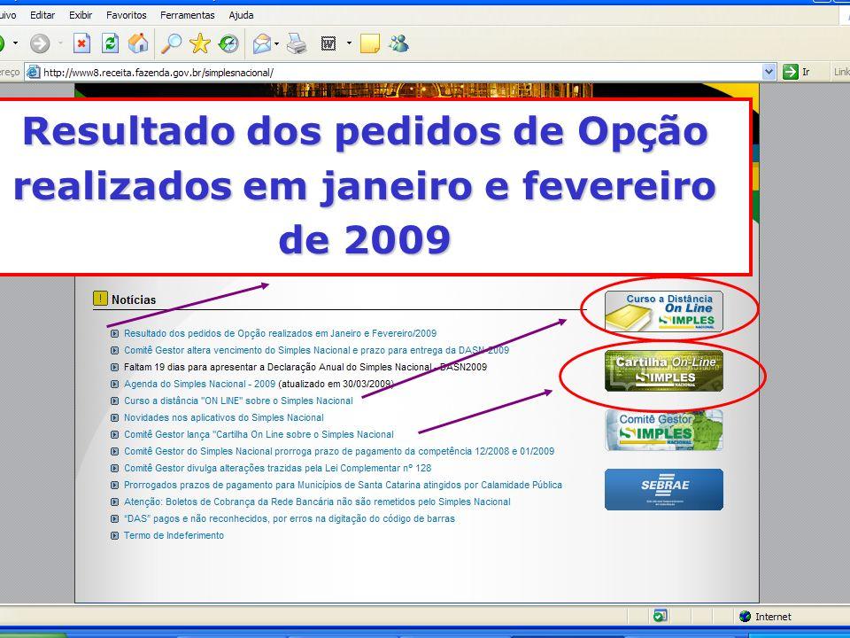 Resultado dos pedidos de Op ç ão realizados em janeiro e fevereiro de 2009