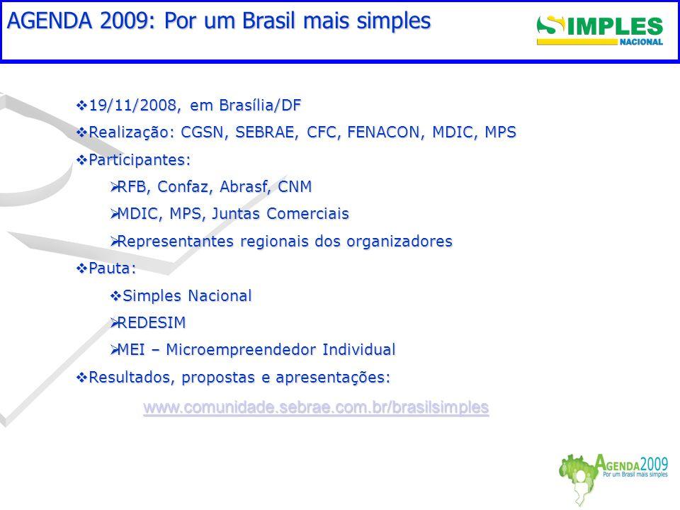 Aspectos críticos a superar em 2008/2009 19/11/2008, em Brasília/DF 19/11/2008, em Brasília/DF Realização: CGSN, SEBRAE, CFC, FENACON, MDIC, MPS Reali