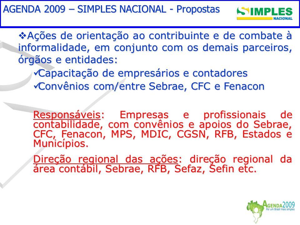 Aspectos críticos a superar em 2008/2009 Ações de orientação ao contribuinte e de combate à informalidade, em conjunto com os demais parceiros, órgãos