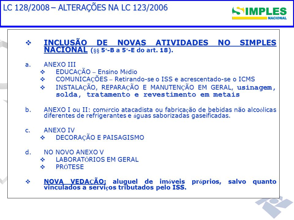 LC 128/2008 – ALTERAÇÕES NA LC 123/2006 INCLUSÃO DE NOVAS ATIVIDADES NO SIMPLES NACIONAL INCLUSÃO DE NOVAS ATIVIDADES NO SIMPLES NACIONAL (§§ 5 º -B a