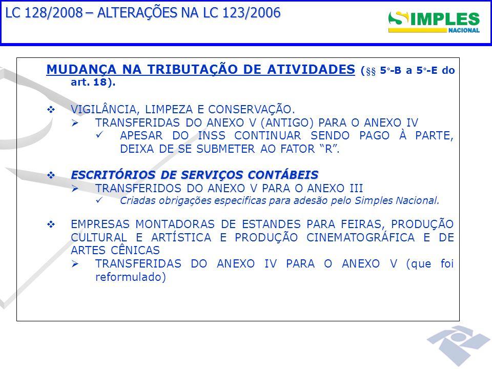 LC 128/2008 – ALTERAÇÕES NA LC 123/2006 MUDANÇA NA TRIBUTAÇÃO DE ATIVIDADES (§§ 5 º -B a 5 º -E do art. 18). VIGILÂNCIA, LIMPEZA E CONSERVAÇÃO. TRANSF