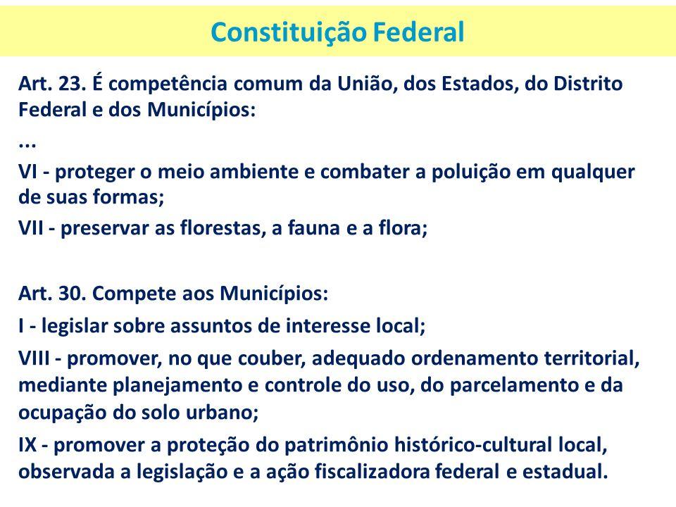 Constituição Federal Art. 23. É competência comum da União, dos Estados, do Distrito Federal e dos Municípios:... VI - proteger o meio ambiente e comb