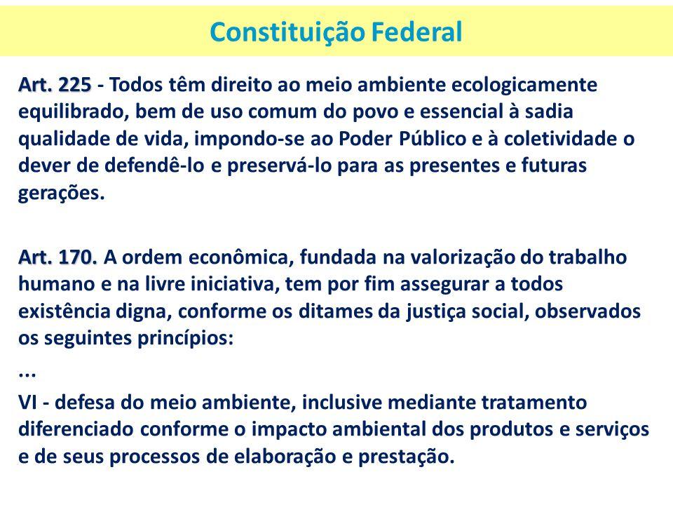 Constituição Federal Art. 225 Art. 225 - Todos têm direito ao meio ambiente ecologicamente equilibrado, bem de uso comum do povo e essencial à sadia q