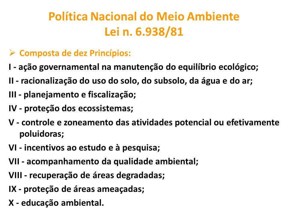 Política Nacional do Meio Ambiente Lei n. 6.938/81 Composta de dez Princípios: I - ação governamental na manutenção do equilíbrio ecológico; II - raci