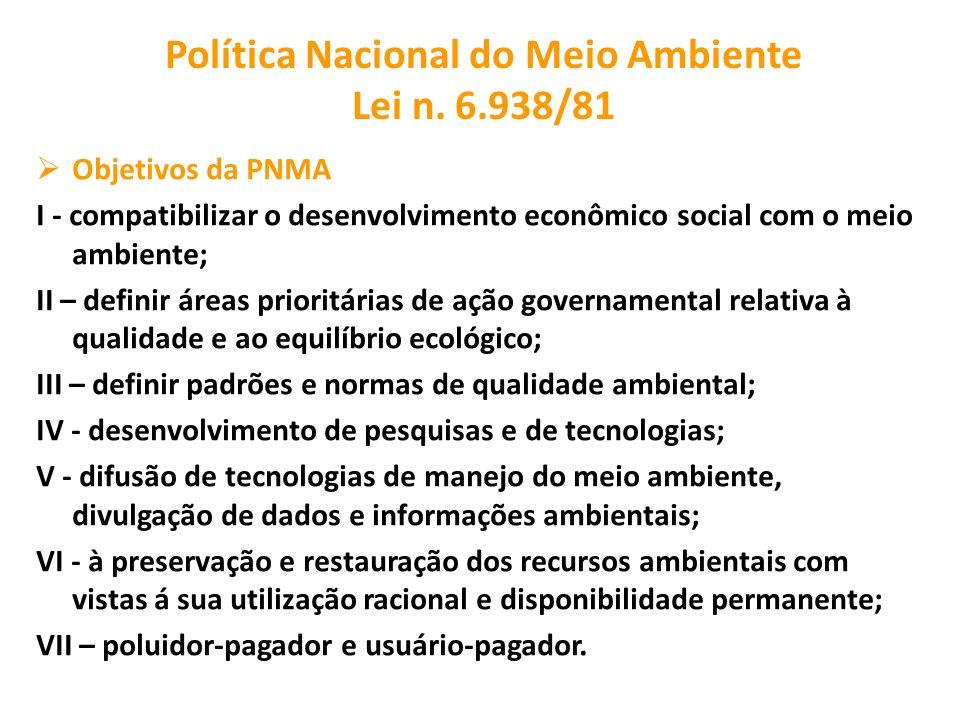 Política Nacional do Meio Ambiente Lei n. 6.938/81 Objetivos da PNMA I - compatibilizar o desenvolvimento econômico social com o meio ambiente; II – d