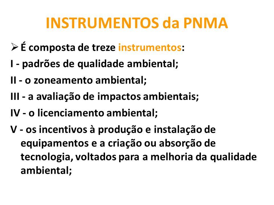 INSTRUMENTOS da PNMA É composta de treze instrumentos: I - padrões de qualidade ambiental; II - o zoneamento ambiental; III - a avaliação de impactos