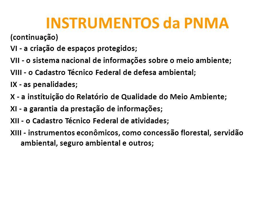 INSTRUMENTOS da PNMA (continuação) VI - a criação de espaços protegidos; VII - o sistema nacional de informações sobre o meio ambiente; VIII - o Cadas