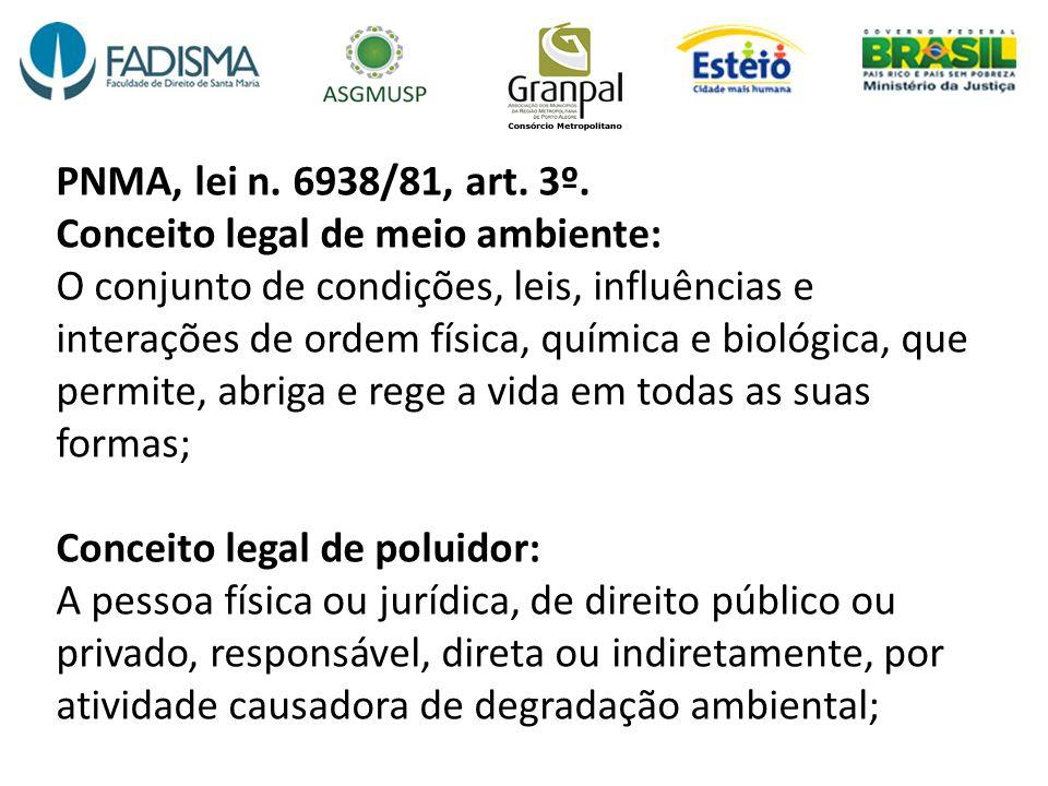 PNMA, lei n. 6938/81, art. 3º. Conceito legal de meio ambiente: O conjunto de condições, leis, influências e interações de ordem física, química e bio