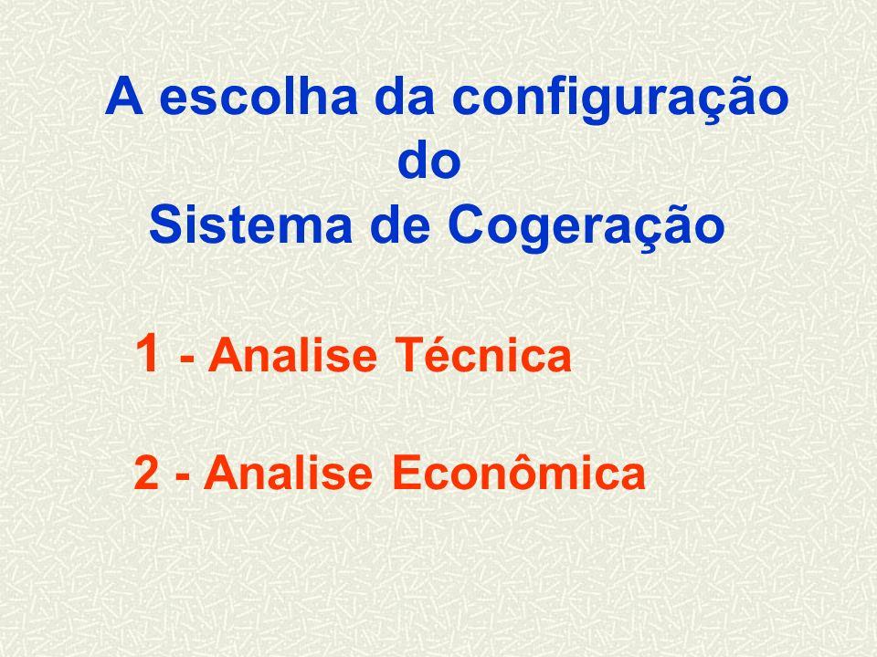 A escolha da configuração do Sistema de Cogeração 1 - Analise Técnica 2 - Analise Econômica