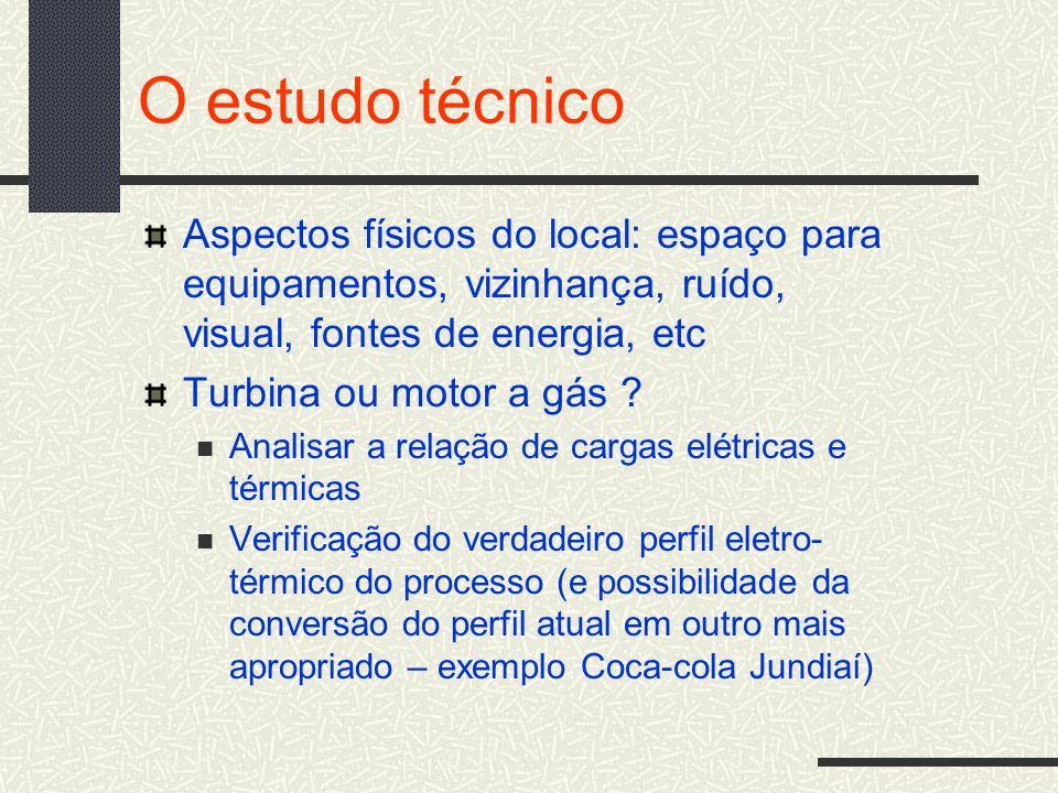 O estudo técnico Aspectos físicos do local: espaço para equipamentos, vizinhança, ruído, visual, fontes de energia, etc Turbina ou motor a gás ? Anali
