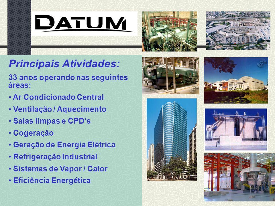 Principais Atividades: 33 anos operando nas seguintes áreas: Ar Condicionado Central Ventilação / Aquecimento Salas limpas e CPDs Cogeração Geração de