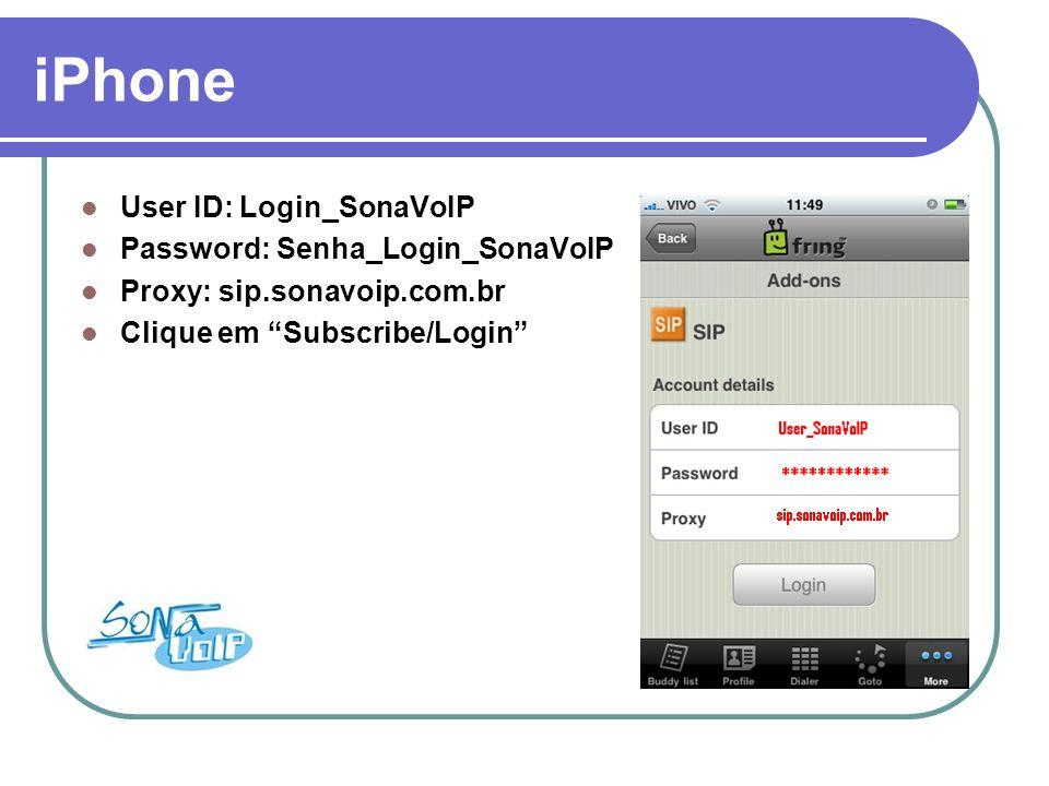 iPhone Seu celular está configurado e pronto para realizar uma chamada (SIP - SonaVoIP).
