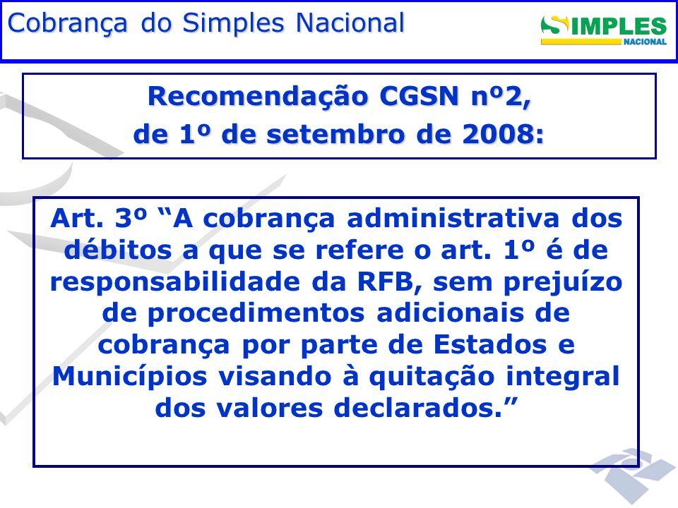 Fundamentação legal Cobrança do Simples Nacional Art. 3º A cobrança administrativa dos débitos a que se refere o art. 1º é de responsabilidade da RFB,
