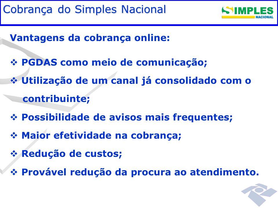 Fundamentação legal Cobrança do Simples Nacional Vantagens da cobrança online: PGDAS como meio de comunicação; Utilização de um canal já consolidado c