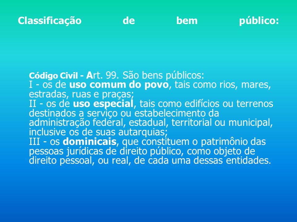 Para falar de espaço público, temos que saber o que é bem público: Código Civil, art. 98. São públicos os bens do domínio nacional pertencentes às pes