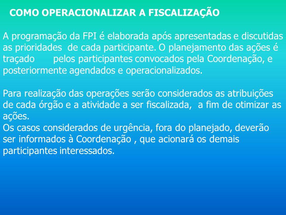 COMO OPERACIONALIZAR A FISCALIZAÇÃO A programação da FPI é elaborada após apresentadas e discutidas as prioridades de cada participante. O planejament
