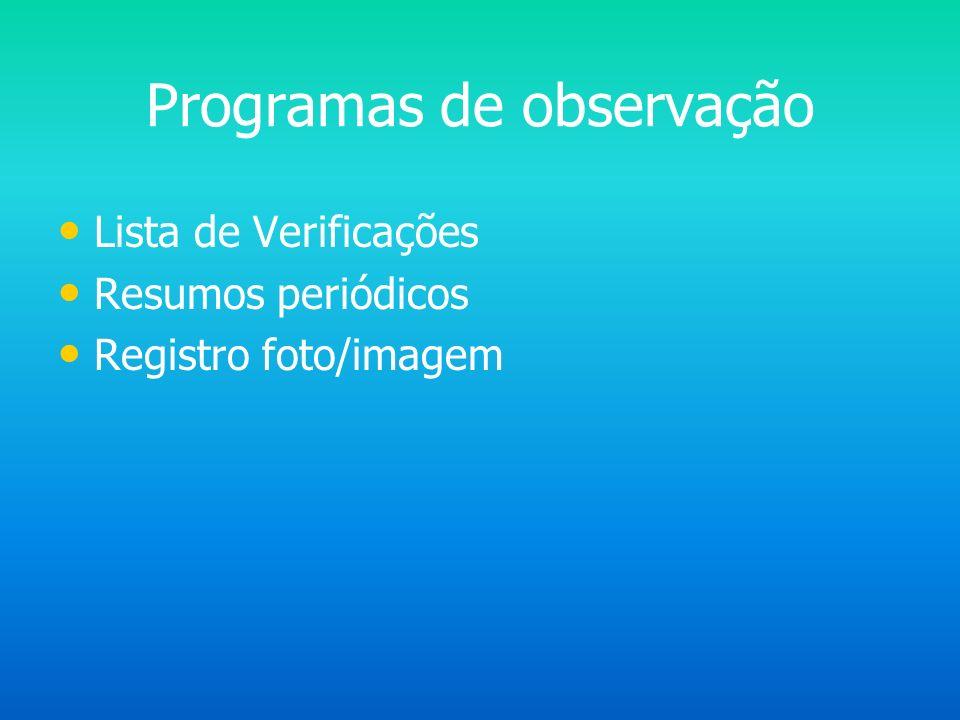 Programas de observação Lista de Verificações Resumos periódicos Registro foto/imagem