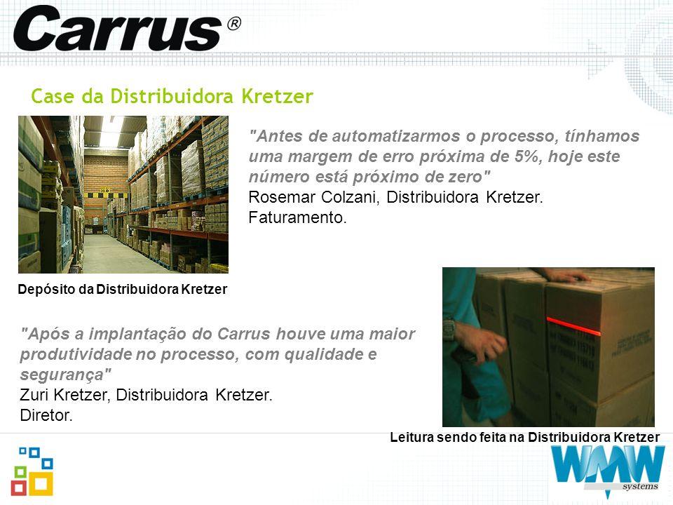 Case da Distribuidora Kretzer Leitura sendo feita na Distribuidora Kretzer Depósito da Distribuidora Kretzer
