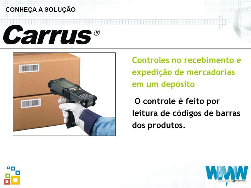 CONHEÇA A SOLUÇÃO Controles no recebimento e expedição de mercadorias em um depósito O controle é feito por leitura de códigos de barras dos produtos.