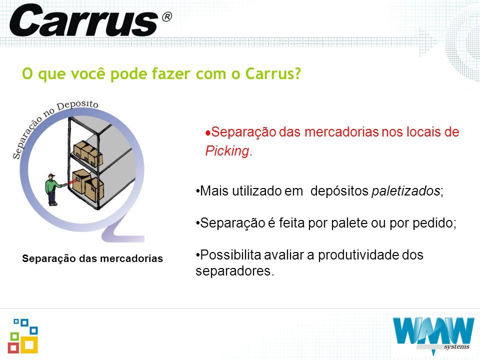 O que você pode fazer com o Carrus? Separação das mercadorias nos locais de Picking. Separação das mercadorias Mais utilizado em depósitos paletizados
